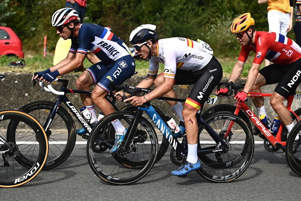 LEUVEN, BELGIUM - SEPTEMBER 26: Ivan Garcia Cortina of Spain competes during the 94th UCI Road World Championships 2021 - Men Elite Road Race a 268,3km race from Antwerp to Leuven / #flanders2021 / on September 26, 2021 in Leuven, Belgium. (Photo by Alex Broadway - Pool/Getty Images)