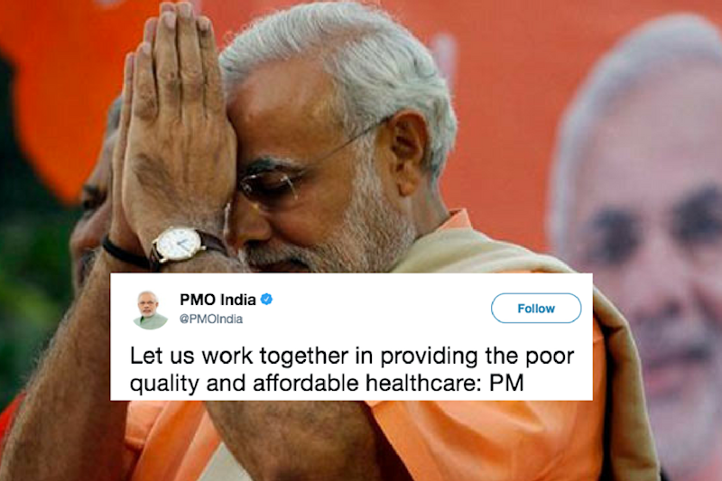 Twitterati lost their collective calm after PMO proposed to provide 'poor quality and affordable healthcare' in a tweet.