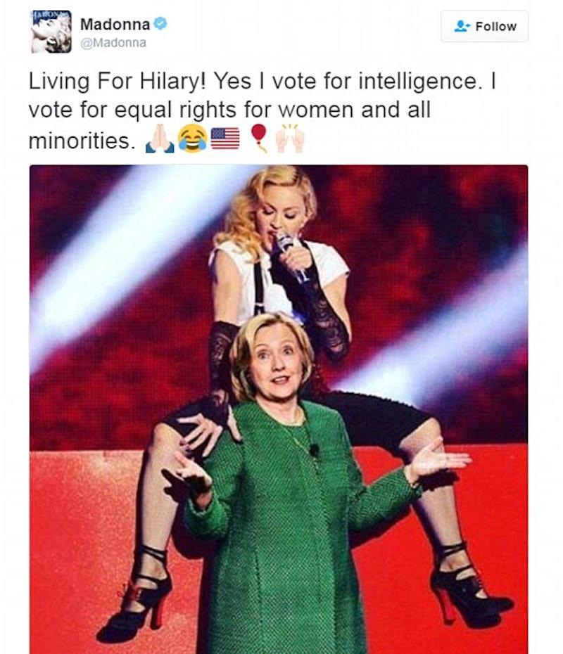 Madonna posts naked selfie to support Hillary Clinton