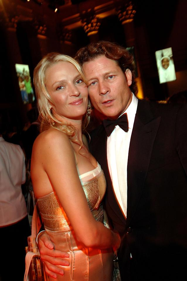 """NEW YORK - FILE:  Actress Uma Thurman and Arpad Busson attend the """"Heart Of Gold Ball"""" to benefit The Happy Hearts Fund at Cipriani's Wall street location on October 10, 2007 in New York City. Thurman is pregnant with her third child. This is her first child with Arpad Busson.  (Photo by Stephen Lovekin/Getty Images)"""