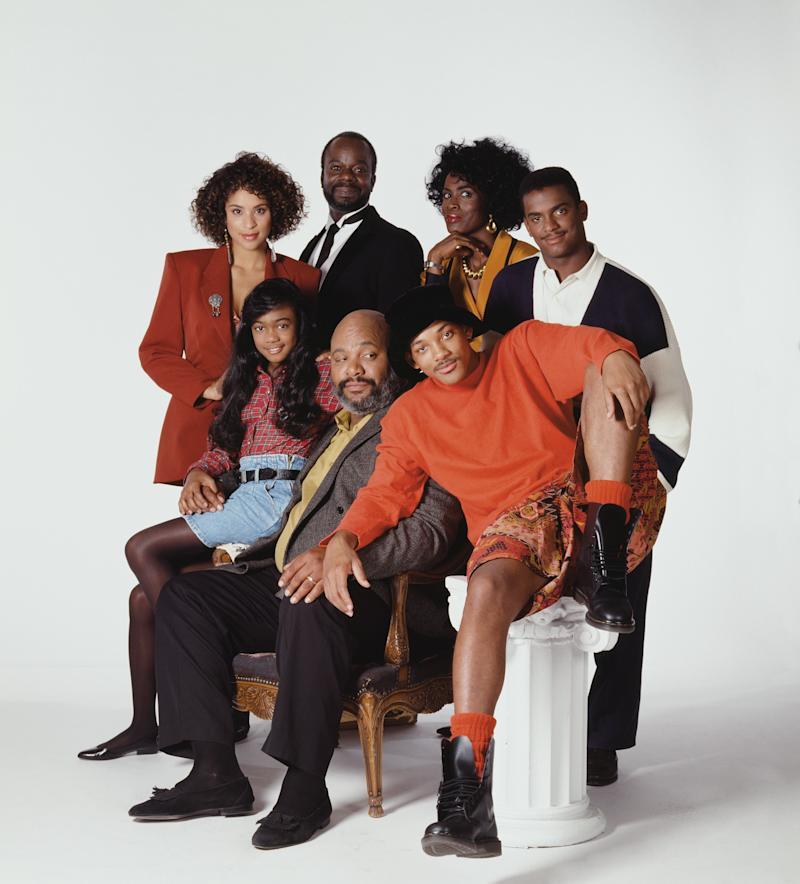 THE FRESH PRINCE OF BEL-AIR -- Season 2 -- Pictured: (back row l-r) Karyn Parsons as Hilary Banks, Joseph Marcell as Geoffrey, Janet Hubert as Vivian Banks, Alfonso Ribeiro as Carlton Banks (front row l-r) Tatyana Ali as Ashley Banks, James Avery as Philip Banks, Will Smith as William'Will' Smith -- Photo by: Paul Drinkwater/NBCU Photo Bank