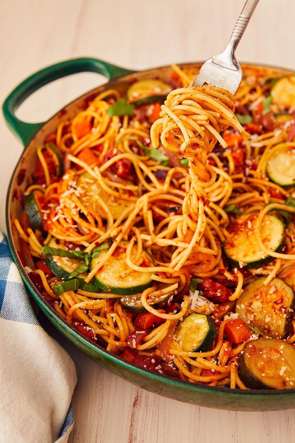"<p>Leftover veggies have a new home. </p><p>Get the recipe from <a href=""https://www.delish.com/cooking/recipe-ideas/a22363721/vegetable-spaghetti-pasta-recipe/"" rel=""nofollow noopener"" target=""_blank"" data-ylk=""slk:Delish."" class=""link rapid-noclick-resp"">Delish. </a></p>"