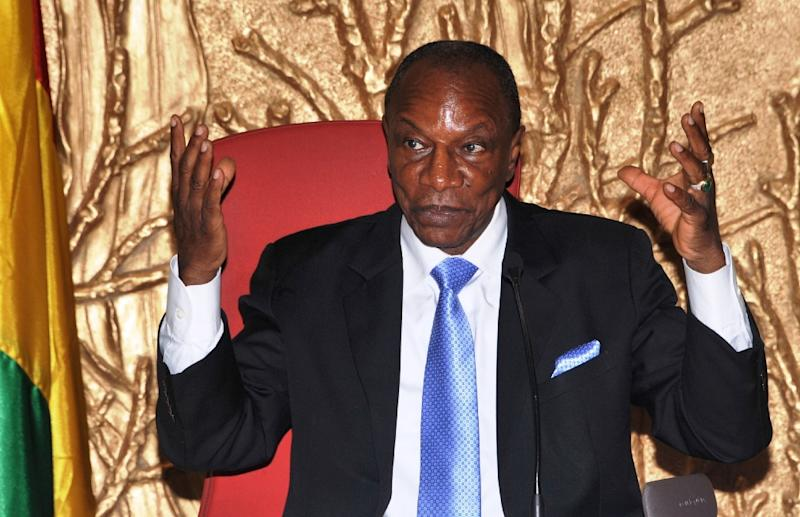 Guinean President Alpha Conde speaks during a press conference on the Ebola response strategy and post-Ebola economic recovery at the presidential palace in Conakry on March 17, 2015