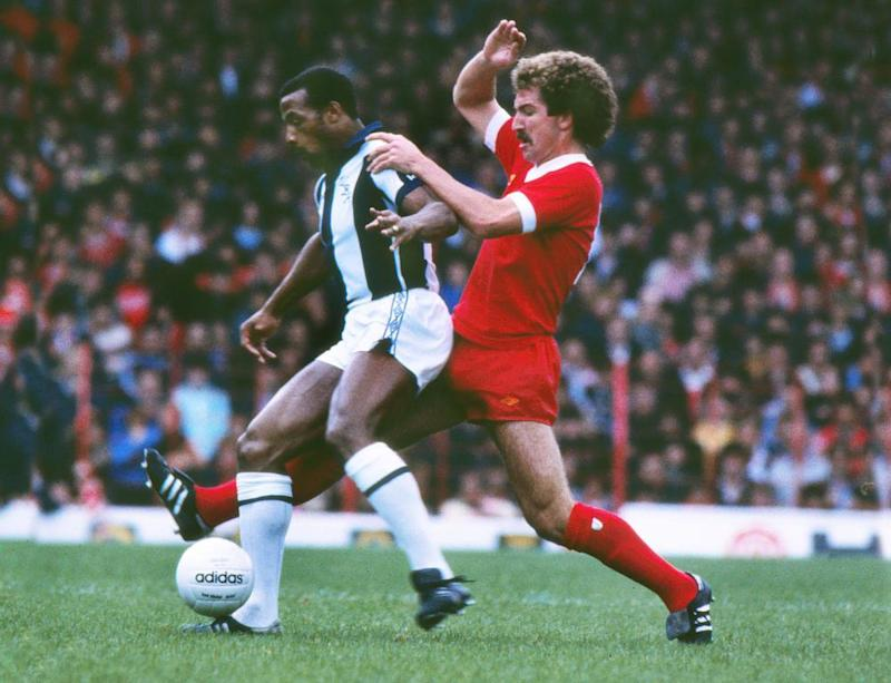 Graeme Souness challenging West Brom's Cyrille Regis in February 1979