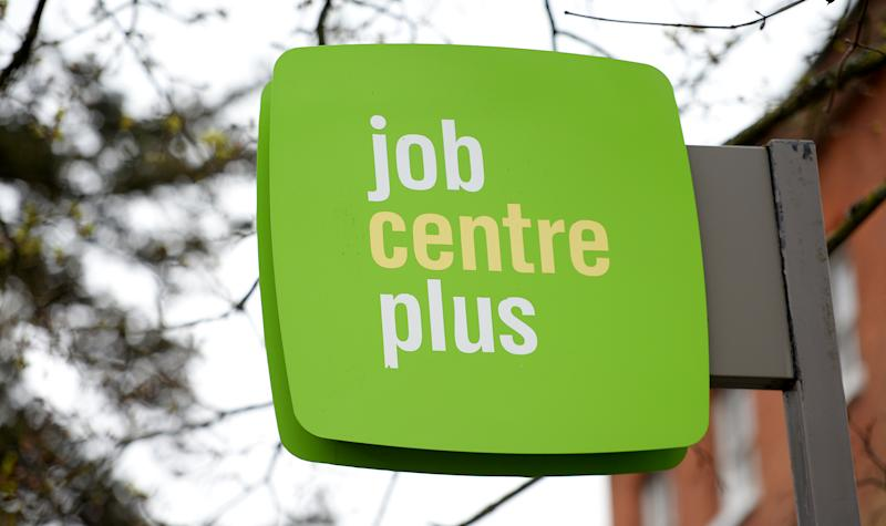 General view of signage for a Jobcentre Plus in Basingstoke (Photo by Andrew Matthews/PA Images via Getty Images)