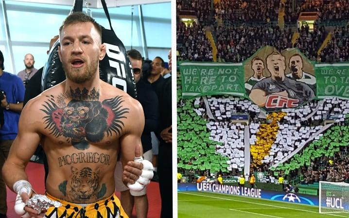 "Conor McGregor has hailed Celtic's 'die-hard' support after the Parkhead home crowd unveiled a huge banner inspired by the UFC fighter. The Irishman, who is the only fighter in UFC history to hold two championship belts in two different weight divisions, will fight Floyd Mayweather in his first ever professional boxing match in just over a week's time. McGregor, who has moved his fight camp from Dublin to Las Vegas in recent weeks, re-shared a photo of Celtic's Parkhead display on Wednesday night.  Brendan Rodgers' side took a huge step towards qualification for the group stages of the Champions League with a 5-0 first leg win over FC Astana. Celtic Football Club STAND UP!!! This is what die hard support from your fans looks like! What a sight! What a team! Thank you all! pic.twitter.com/txU38gCogI— Conor McGregor (@TheNotoriousMMA) August 17, 2017 Celtic's famous 'Green Brigade' marked the victory by unfurling a large banner depicting Rodgers and captain Scott Brown. ""We're not here to take part; we're here to take over,"" was written across the banner, a phrase McGregor has constantly used in his press conferences with Mayweather.  The banner also featured the letters 'CFC' in the iconic font of the Ultimate Fighting Championship. ""Celtic Football Club STAND UP!!! This is what die hard support from your fans looks like! What a sight! What a team! Thank you all!"" Conor McGregor trains ahead of his fight with Floyd Mayweather  Credit: Getty Images  McGregor has predicted he will beat Mayweather Jr in two rounds after the use of 8oz gloves was approved for the contest. ""I don't believe with the new gloves he makes it out of the second round,"" said McGregor. ""Part of me kind of wants to show some skill and dismantle him but I do not see him absorbing the blows."" How boxing and MMA glove weights compare ""I am ready to go to war for 12 rounds and I am also ready to put him away in seconds,"" he added. ""There is no way in hell I am not prepared to fight in the deepest of trenches."" McGregor is used to wearing lighter, 4oz gloves in UFC whereas Mayweather has worn 8oz gloves in 46 of his 49 fights. Pick your free Telegraph Fantasy Football team now and start scoring from the next kick-off >>"