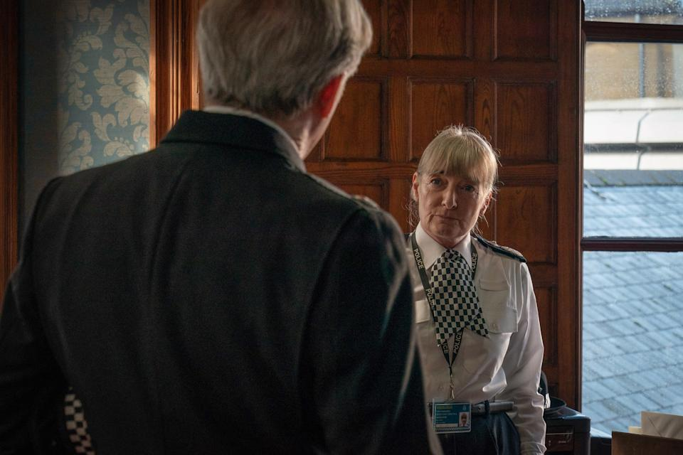 WARNING: Embargoed for publication until 00:00:01 on 23/03/2021 - Programme Name: Line of Duty S6 - TX: n/a - Episode: Line Of Duty - Ep 2 (No. n/a) - Picture Shows:  Superintendent Ted Hastings (ADRIAN DUNBAR), DCC Andrea Wise (ELIZABETH RIDER) - (C) World Productions - Photographer: Chris Barr