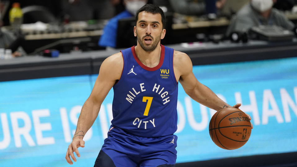 Denver Nuggets guard Facundo Campazzo (7) in the first half of an NBA basketball game Saturday, May 8, 2021, in Denver.