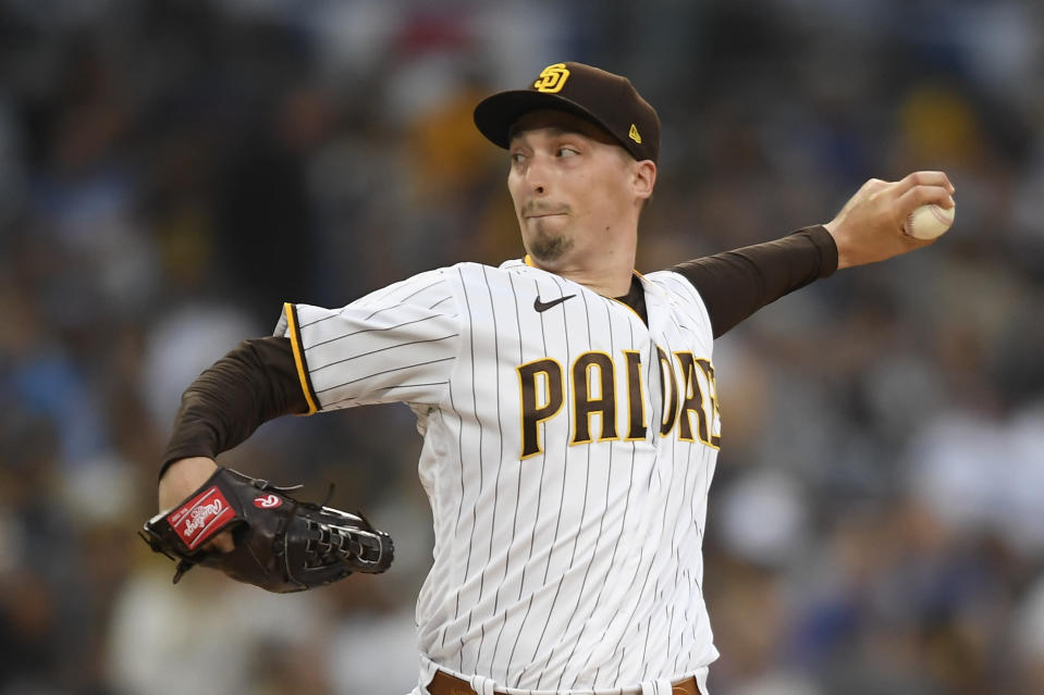 San Diego Padres starting pitcher Blake Snell (4) delivers during the first inning of a baseball game against Los Angeles Dodgers Tuesday, June 22, 2021, in San Diego. (AP Photo/Denis Poroy)