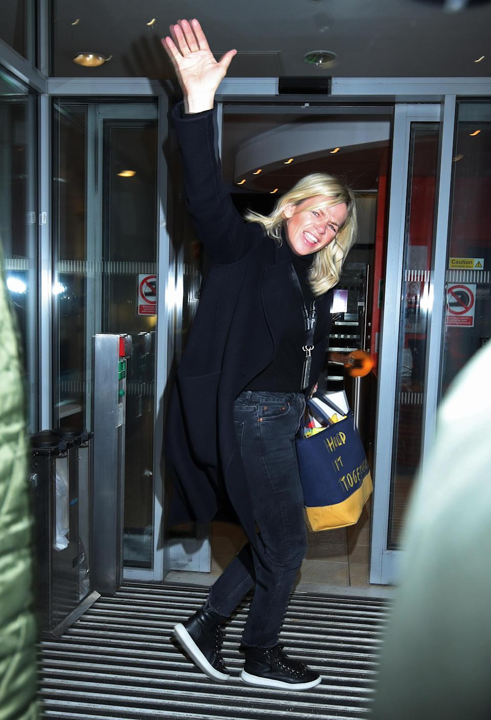 Zoe Ball arrives at Wogan House in London for her first morning hosting the BBC 2 Breakfast Show. (Credit: Yui Mok/PA Images via Getty Images)