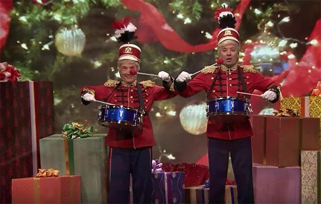Martin Short and Jimmy Fallon give it to Trump in their carol. Source: The Tonight Show with Jimmy Fallon