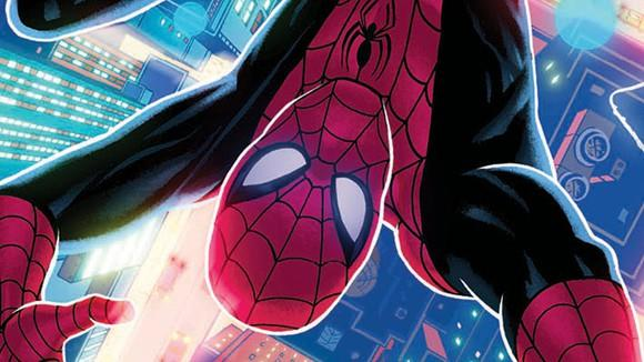 An upside-down image of Spider-Man