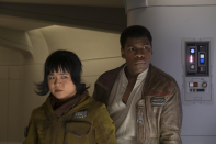 <p>Along with new character Rose (Kelly Marie Tran), a maintenance worker for the Rebellion, Finn goes on an undercover mission to get some First Order intel.<br>(Credit: Lucasfilm) </p>