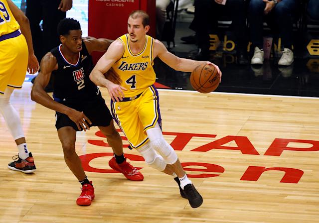 Los Angeles Lakers guard Alex Caruso is listed at 6-foot-5, 186 pounds, but you wouldn't know it by photoshopped images of him that recently appeared online. (Photo: Icon Sportswire via Getty Images)