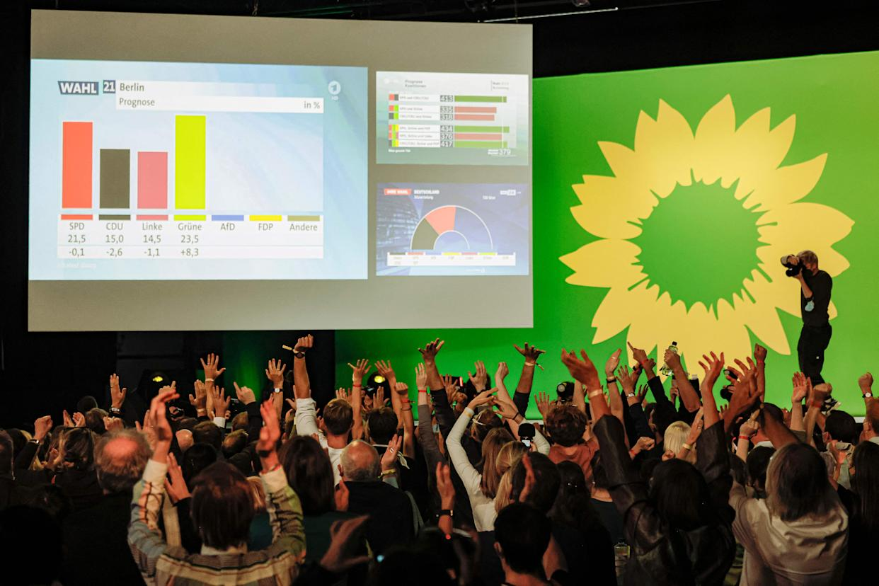 Supporters of the Greens (Die Gruenen) party react to the exit polls in Berlin on September 26, 2021 after the German general elections. (Photo by David GANNON / AFP) (Photo by DAVID GANNON/AFP via Getty Images)