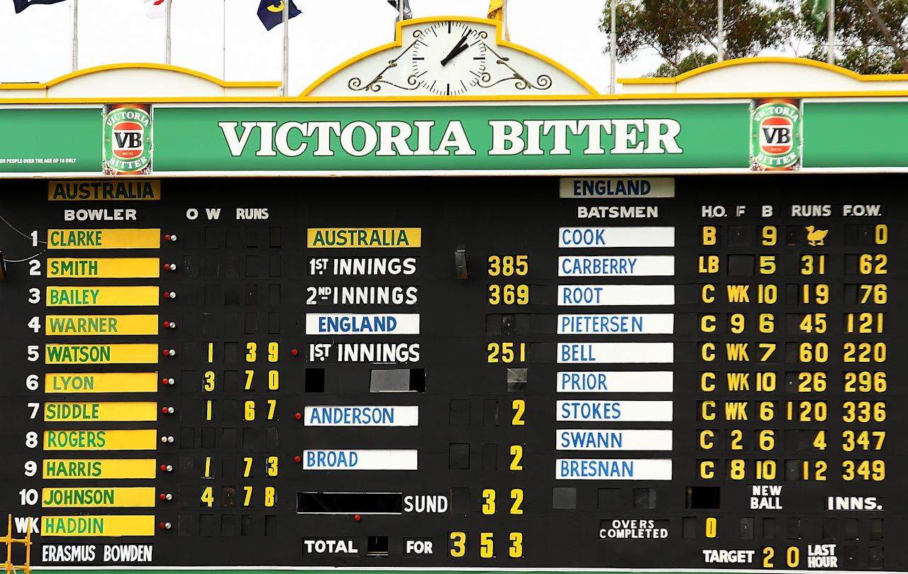 PERTH, AUSTRALIA - DECEMBER 17:  The scoreboard displays the final score after Australia defeated England and claimed a 3-0 series win on day five of the Third Ashes Test Match between Australia and England at the WACA on December 17, 2013 in Perth, Australia.  (Photo by Paul Kane/Getty Images)