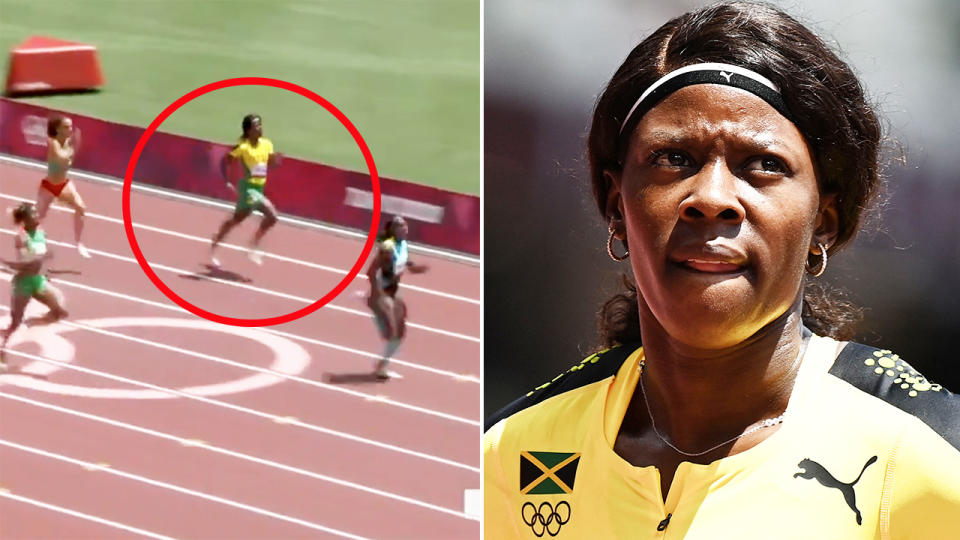 Shericka Jackson, pictured here failing to qualify for the 200m semi-finals at the Olympics.