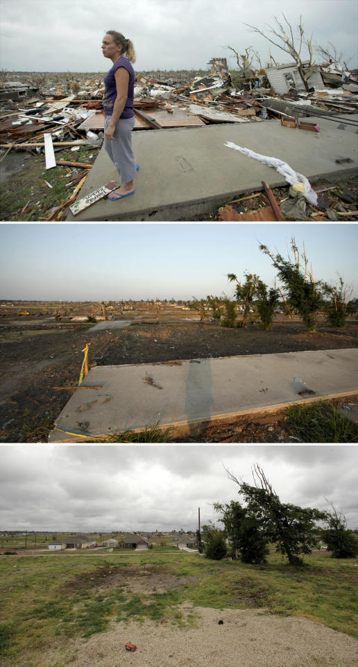 This three-photo combo shows a scene taken on May 23, 2011, top, July 20, 2011, center, and May 7, 2012, bottom, shows progress made in Joplin, Mo. in the year after an EF-5 tornado destroyed a large swath of the city and killed 161 people. In the top photo, Laura Vanzant looks for her dog at her home that was destroyed by the tornado and is today cleared of debris. (AP Photo/Charlie Riedel)