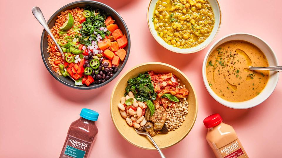 """<p><span>Splendid Spoon provides vegan bowls and juices to your door. If you're detoxing or have decided to go on a juicing diet, Splendid Spoon can help you simplify your meal prep. You'll get a juice for breakfast, a grain bowl or soup for lunch and a light soup for dinner.</span></p> <p><b>How Much Does Splendid Spoon Delivery Cost? </b><span>Starts at $9.00 per meal for the three-meal per day plan </span></p> <p><b>Is Splendid Spoon Delivery Worth It? </b><span>There may be better options worth checking out if the juice, grain bowl and soup plan seems too limiting.</span></p> <p><b>Who Is Splendid Spoon Best For?</b></p> <ul> <li><span>Best for light eaters</span></li> <li><span>Good option for an occasional detox</span></li> <li><span>Skip it if you're not into a menu limited to juice, soups and grain bowls.</span></li> <li><span>Skip it if you're looking to get the most bang for your buck. </span></li> </ul> <p><em><strong>Find Out: <a href=""""https://www.gobankingrates.com/saving-money/food/money-spend-on-food-your-lifetime/?utm_campaign=1013201&utm_source=yahoo.com&utm_content=30"""" rel=""""nofollow noopener"""" target=""""_blank"""" data-ylk=""""slk:How Much Money You'll Spend on Food in Your Lifetime, By State"""" class=""""link rapid-noclick-resp"""">How Much Money You'll Spend on Food in Your Lifetime, By State</a></strong></em></p>"""