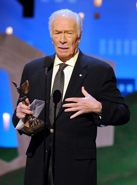 "Christopher Plummer accepts the award for best supporting male for ""Beginners"" at the Independent Spirit Awards on Saturday, Feb. 25, 2012, in Santa Monica, Calif. (AP Photo/Vince Bucci)"