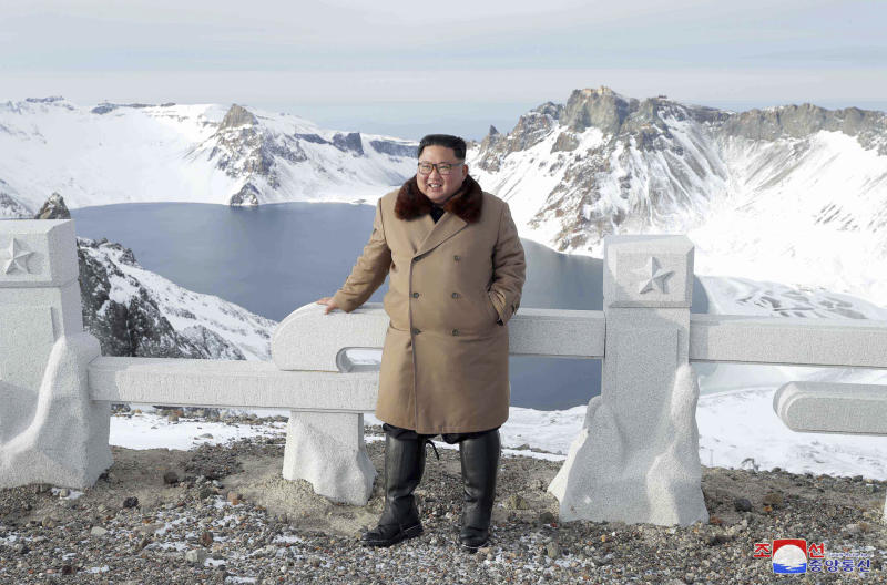 "This undated photo provided on Wednesday, Dec. 4, 2019, by the North Korean government shows North Korean leader Kim Jong Un visits Mount Paektu, North Korea. North Korea says leader Kim has taken a second ride on a white horse to a sacred mountain in less than two months. Independent journalists were not given access to cover the event depicted in this image distributed by the North Korean government. The content of this image is as provided and cannot be independently verified. Korean language watermark on image as provided by source reads: ""KCNA"" which is the abbreviation for Korean Central News Agency. (Korean Central News Agency/Korea News Service via AP)"