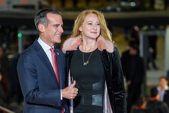 Mayor Eric Garcetti and First Lady Amy Elaine Wakeland arrive at an International Olympic Committee meeting in 2017 in Peru.