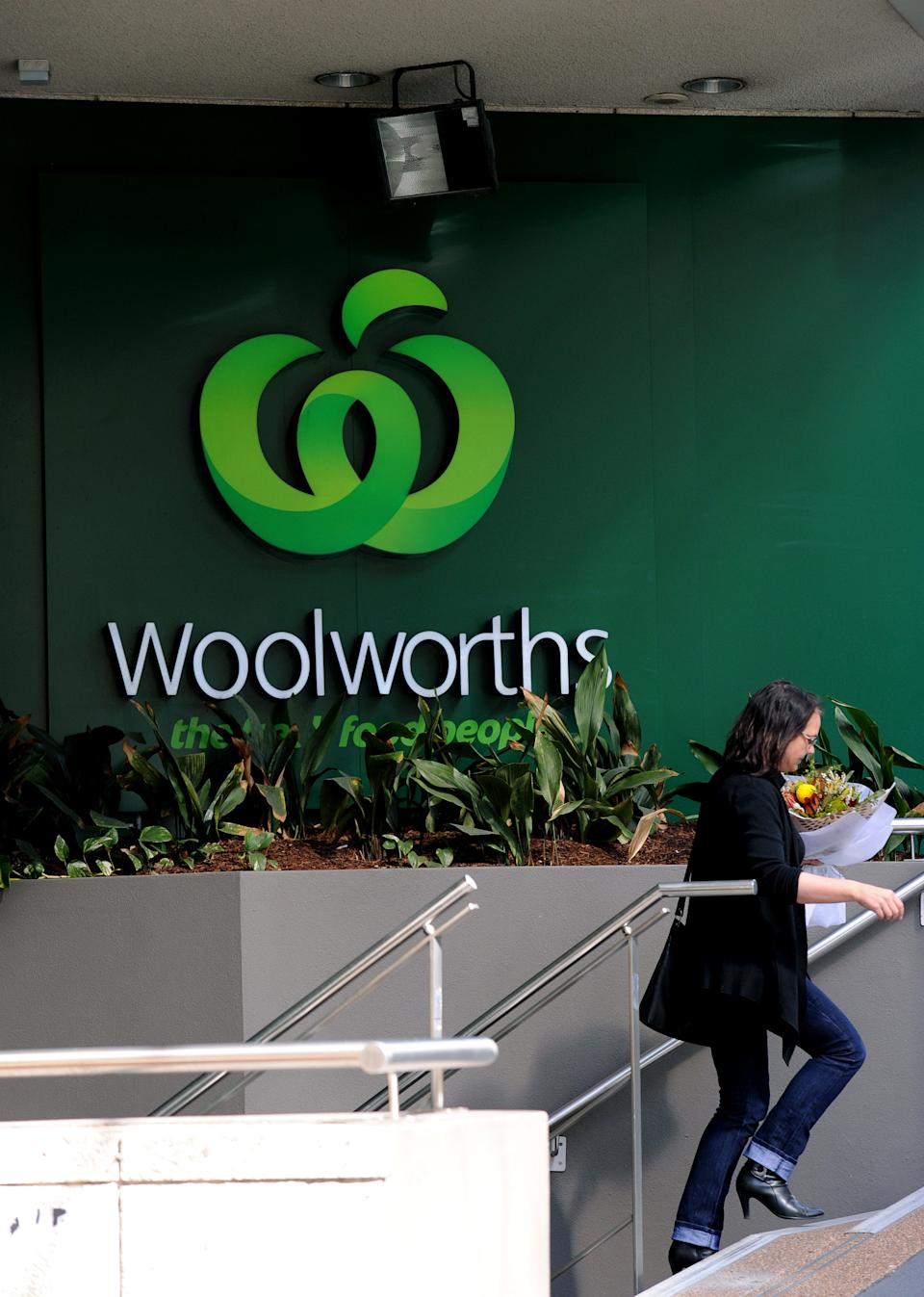 Woolworths signage outside a store in Sydney.