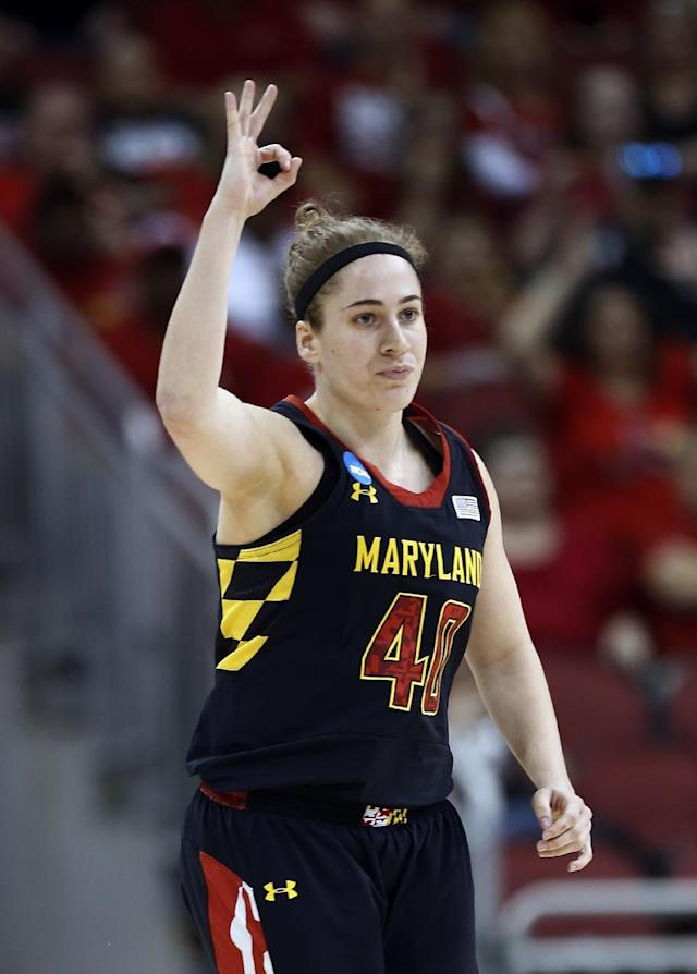 Maryland guard Lexie Brown (4) reacts after hitting a 3-point basket against Louisville during the first half of a regional final in the NCAA women's college basketball tournament, Tuesday, April 1, 2014, in Louisville, Ky. (AP Photo/John Bazemore)