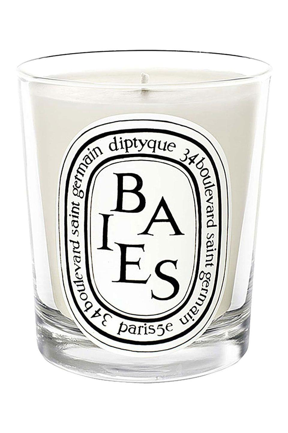 """<p><strong>Diptyque</strong></p><p>nordstrom.com</p><p><strong>$68.00</strong></p><p><a href=""""https://go.redirectingat.com?id=74968X1596630&url=https%3A%2F%2Fwww.nordstrom.com%2Fs%2Fdiptyque-baies-berries-candle%2F3227984&sref=https%3A%2F%2Fwww.oprahdaily.com%2Flife%2Fg23584712%2Fbest-scented-candles%2F"""" rel=""""nofollow noopener"""" target=""""_blank"""" data-ylk=""""slk:SHOP NOW"""" class=""""link rapid-noclick-resp"""">SHOP NOW</a></p><p>What's a scented candle wish list without this fancy Parisian brand? Reminiscent of a bouquet of roses, currant leaves and berries, there's a reason why Baies/Berries reigns as the most popular scent.</p>"""