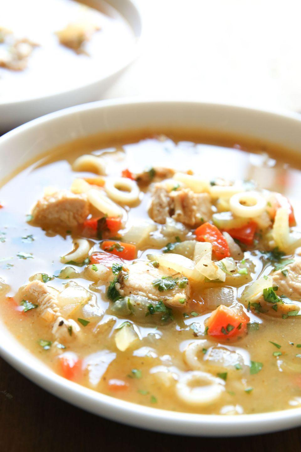 "<p>It's the zestiest way to comfort yourself.</p><p>Get the recipe from <a href=""https://www.delish.com/cooking/recipe-ideas/recipes/a51163/cajun-chicken-noodle-soup-recipe/"" rel=""nofollow noopener"" target=""_blank"" data-ylk=""slk:Delish"" class=""link rapid-noclick-resp"">Delish</a>.</p>"