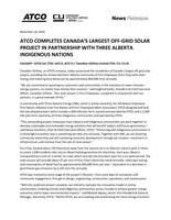 ATCO Completes Canada's Largest Off-Grid Solar Project In Partnership With Three Alberta Indigenous Nations (CNW Group/ATCO Ltd.)