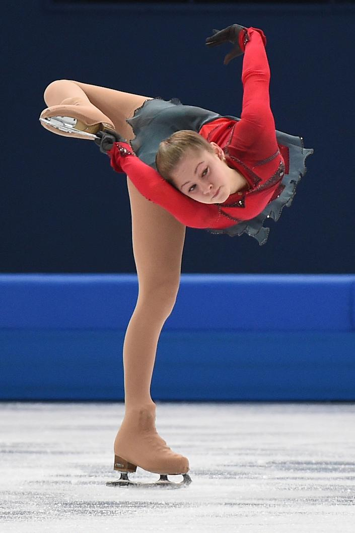 Russia's Julia Lipnitskaia competes in the Women's Figure Skating Free Program at the Iceberg Skating Palace.