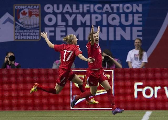 VANCOUVER, CANADA - JANUARY 27: Christine Sinclair #12 of Canada celebrates after scoring her second goal of the game against Mexico with teammate Brittany Timko #17 during the second half of semifinals action of the 2012 CONCACAF WomenÕs Olympic Qualifying Tournament at BC Place on January 27, 2012 in Vancouver, British Columbia, Canada. (Photo by Rich Lam/Getty Images)