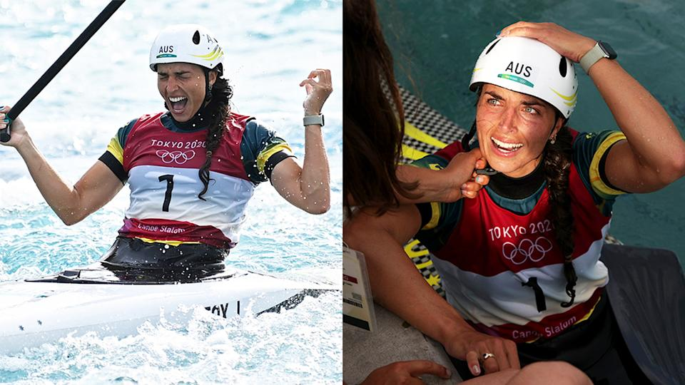 Jessica Fox (pictured right) became emotional after winning gold in the C1 event (pictured left) at the Tokyo Olympics.