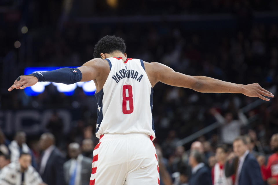 Dec 8, 2019; Washington, DC, USA;  Washington Wizards forward Rui Hachimura (8) stands on the court during the second half against the Los Angeles Clippers at Capital One Arena. Mandatory Credit: Tommy Gilligan-USA TODAY Sports