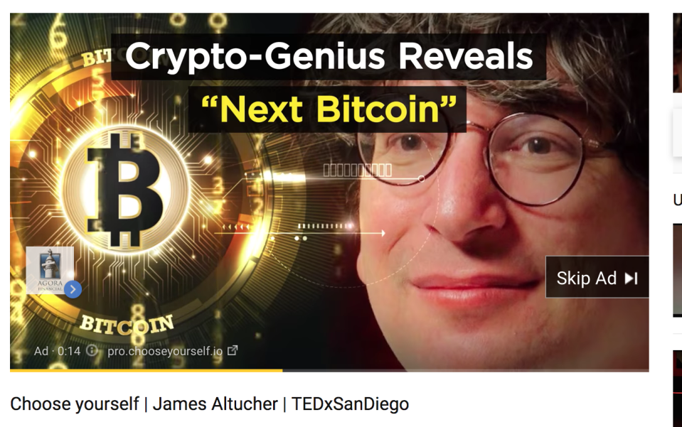 This is an ad for James Altucher on a video of James Altucher. (Screenshot: Yahoo Finance)