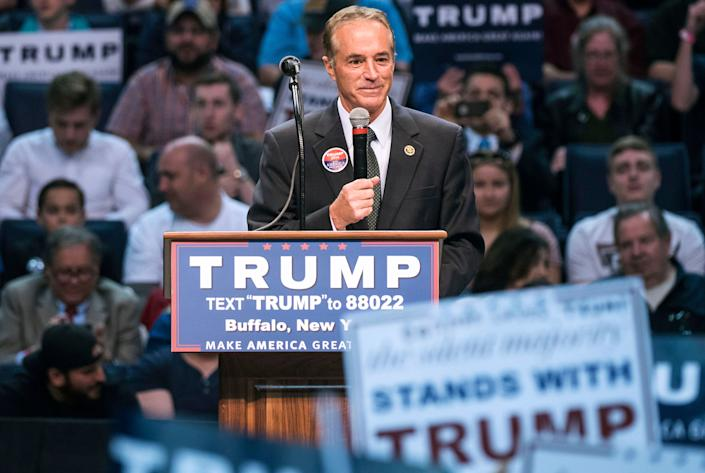 Then-Rep. Chris Collins (R-N.Y.) speaks at a campaign rally for Trump in 2016. A few years later: pardon.  (Photo: Al Drago/CQ Roll Call via Getty Images)