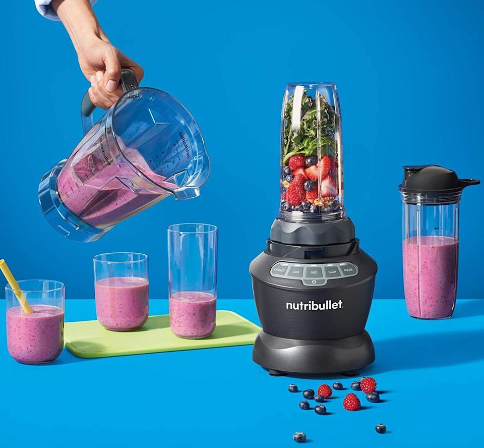 """Greatfor anyone who loves smoothies, hummus, soup and other blended meals but is always on the go.It comes with a regular large blender container and two travel cups.<br /><br /><strong>Promising review:</strong>""""I've been using my NutriBullet every day, usually multiple times a day, to make smoothies using frozen fruit, frozen veggies, fresh veggies, and other ingredients. By using frozen ingredients I don't need ice, just cold water. This thing works great. I had an older model for years. It still worked. But I wanted one with a faster motor. Everything has been improved since the last one I bought. It is so easy to use, and it is so easy to clean. It is noisy, but it's so efficient that you don't need to leave it on long. I love that when I press the 'extract' button it goes ahead and does its thing and a minute or so later I have a smoothie. I have only positive things to say about my NutriBullet. I gave the old one away and it's still working for the person I gave it to."""" —<a href=""""https://amzn.to/3syBzLz"""" target=""""_blank"""" rel=""""nofollow noopener noreferrer"""" data-skimlinks-tracking=""""5723569"""" data-vars-affiliate=""""Amazon"""" data-vars-href=""""https://www.amazon.com/gp/customer-reviews/RBEF29VORUW8U?tag=bfjasmin-20&ascsubtag=5723569%2C7%2C31%2Cmobile_web%2C0%2C0%2C0"""" data-vars-keywords=""""cleaning"""" data-vars-link-id=""""0"""" data-vars-price="""""""" data-vars-retailers=""""Amazon"""">LaurieJay</a><br /><br /><strong>Get it from Amazon for <a href=""""https://amzn.to/3v1mxQ3"""" target=""""_blank"""" rel=""""noopener noreferrer"""">$139.99</a>.</strong>"""