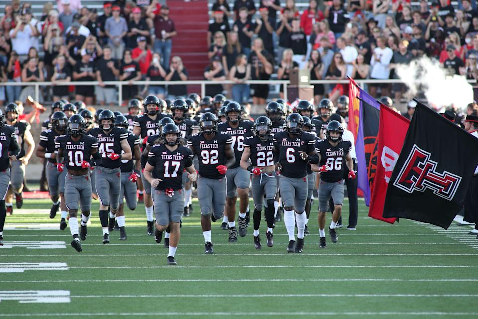Texas Tech takes the field before facing TCU on Oct. 9.