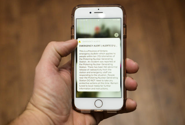 An emergency alert message on an iPhone is pictured in Carleton Place, Ont., on Sunday, Jan. 12, 2020. THE CANADIAN PRESS/Sean Kilpatrick