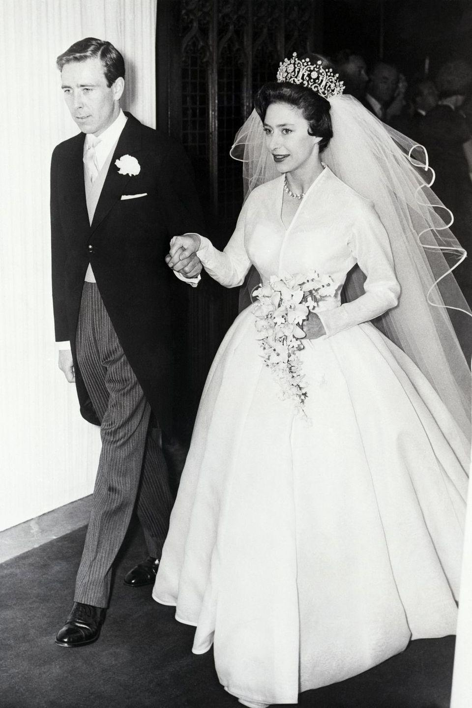 "<p><strong>Wedding date: </strong>May 6, 1960</p><p><strong>Wedding tiara: </strong><a href=""https://www.townandcountrymag.com/society/tradition/a12265404/princess-margaret-wedding-to-lord-snowdon/"" rel=""nofollow noopener"" target=""_blank"" data-ylk=""slk:Margaret wore the Poltimore Tiara"" class=""link rapid-noclick-resp"">Margaret wore the Poltimore Tiara</a> on her wedding day, which was purchased as Margaret's engagement to Antony Armstrong-Jones was announced. Garrard created the tiara in the 1870s for Lady Florence Poltimore. Sadly, the gorgeous piece was sold after Margaret's death <a href=""https://www.christies.com/special_sites/woodwork/specialist.asp"" rel=""nofollow noopener"" target=""_blank"" data-ylk=""slk:at auction in 2006."" class=""link rapid-noclick-resp"">at auction in 2006.</a></p>"