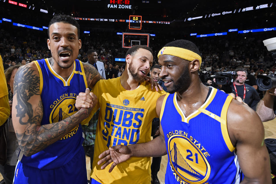 Golden State Warriors' Matt Barnes (22), Golden State Warriors' Stephen Curry (30) and Golden State Warriors' Ian Clark (21) celebrate winning Game 4 of the NBA Western Conference Finals at AT&T Center in San Antonio, Texas, on Monday, May 22, 2017. Golden State Warriors defeat the San Antonio Spurs 129-115 to win the NBA Western Conference Final. (Jose Carlos Fajardo/Bay Area News Group) (Photo by MediaNews Group/Bay Area News via Getty Images)