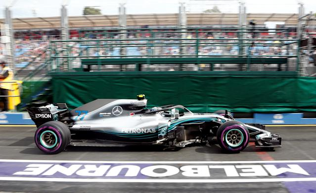 Formula One F1 - Australian Grand Prix - Melbourne Grand Prix Circuit, Melbourne, Australia - March 24, 2018 MercedesÕ Valtteri Bottas in action during practice REUTERS/Brandon Malone