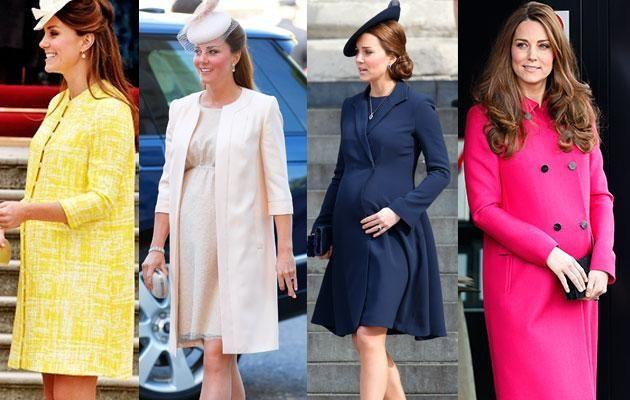Kate pregnant with George in 2013 (left two) and with Charlotte in 2015 (right two). Photo: Getty