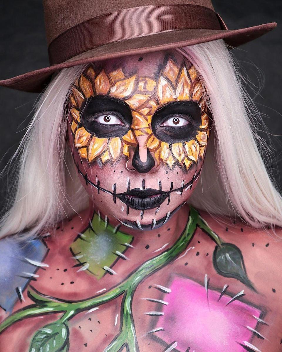 "<p>It's all in the face: Paint an entire autumnal scene on your face with body paint and makeup. Top it all off with a straw hat to give off scarecrow vibes.</p><p><em><a href=""https://www.instagram.com/p/B35TY44ADAF/"" rel=""nofollow noopener"" target=""_blank"" data-ylk=""slk:See more on Instagram »"" class=""link rapid-noclick-resp"">See more on Instagram »</a></em></p><p><strong>RELATED: </strong><a href=""https://www.goodhousekeeping.com/holidays/halloween-ideas/g2599/halloween-costumes-with-makeup-ideas/"" rel=""nofollow noopener"" target=""_blank"" data-ylk=""slk:Halloween Makeup Ideas to Elevate Your Costume"" class=""link rapid-noclick-resp"">Halloween Makeup Ideas to Elevate Your Costume </a><br></p>"