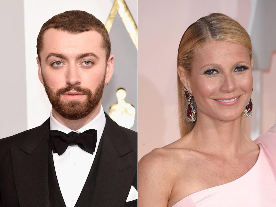 Singer Sam Smith attends the 88th Annual Academy Awards at Hollywood & Highland Center on February 28, 2016 in Hollywood, California. Actress Gwyneth Paltrow attends the 87th Annual Academy Awards at Hollywood & Highland Center on February 22, 2015 in Hollywood, California (Getty)