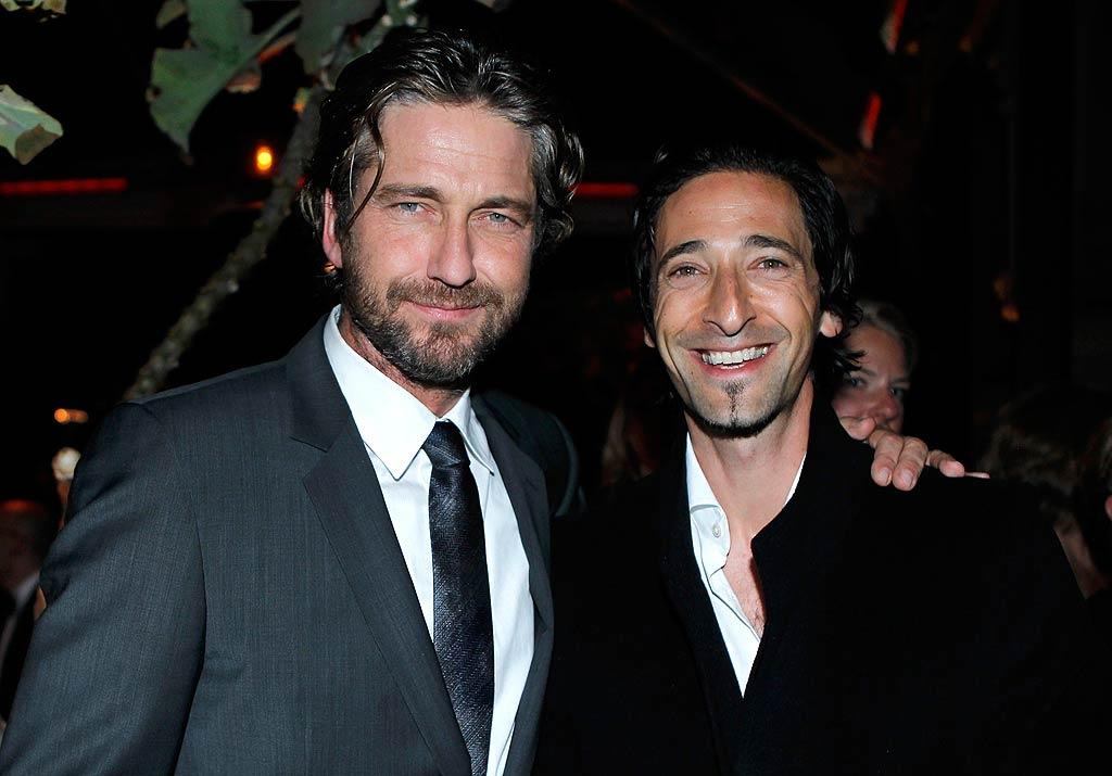 "It was a boys night out for buddies Gerard Butler and Adrien Brody. Jeff Vespa/<a href=""http://www.wireimage.com"" target=""new"">WireImage.com</a> - February 23, 2011"