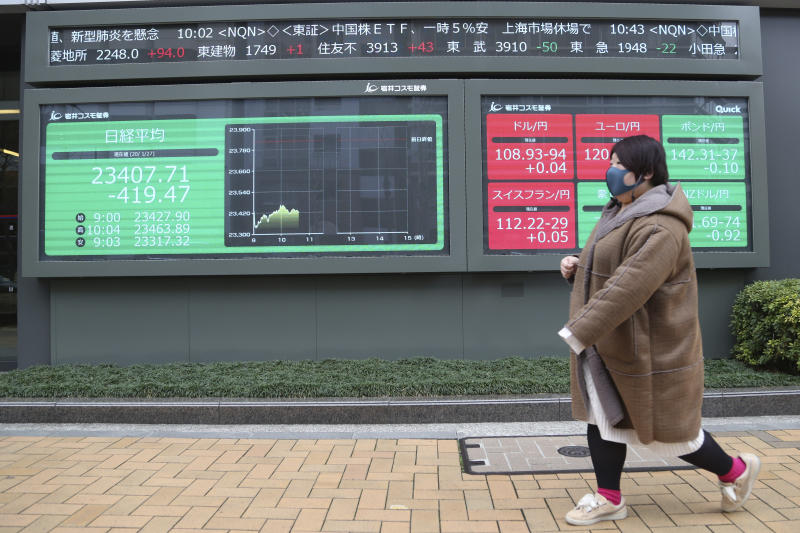 A woman walks by an electronic stock board of a securities firm in Tokyo, Monday, Jan. 27, 2020. Shares tumbled Monday in the few Asian markets open as China announced sharp increases in the number of people affected in an outbreak of a potentially deadly virus. (AP Photo/Koji Sasahara)