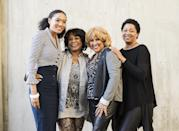 """From left to right, singers Judith Hill, Merry Clayton, Darlene Love and Lisa Fischer pose for a portrait at the Rose Bowl on Tuesday, Dec. 31, 2013 in Pasadena, Calif. The singers are performing the national anthem on Wednesday, Jan. 1, 2014, at the Rose Bowl football game. Hill, Clayton, Love, and Fischer are backup singers featured in the 2013 documentary film, """"20 Feet From Stardom."""" (Photo by Dan Steinberg/Invision/AP)"""