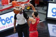Chicago Bulls guard Zach LaVine dunks against the Detroit Pistons during the second half of an NBA basketball game in Chicago, Wednesday, Feb. 17, 2021. The Bulls won 105-102. (AP Photo/Nam Y. Huh)